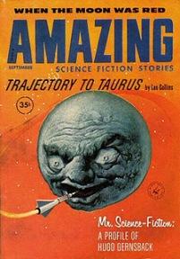 """Revista """"Amazing Stories"""" (setembro 1960) - ilustração de Albert Nuetzell"""